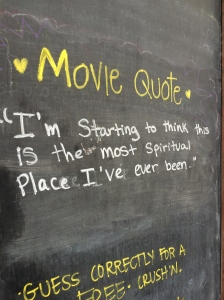 At the bottom of Congress Street in Austin, there is a small ice cream shop that always has quotes written on a chalk board, as a huge ice cream lover, I had to stop and take a picture of this (after getting a cone of mint chip of course)